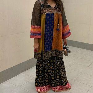 Ethnic Indian wear—gharara (pants) and kameez (top